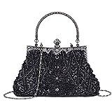 Fashion Vintage Style Handbag Beaded Sequined Evening Bag Wedding Party Handbag Rhinestone Clutch Purse (Black)