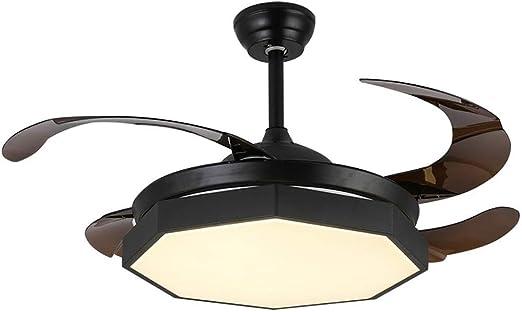 Lámpara de techo con lámpara de techo moderna creativa, con control remoto, con aspa retráctil, ventilador de iluminación regulable, lámpara de dormitorio para niños, control remoto: Amazon.es: Hogar