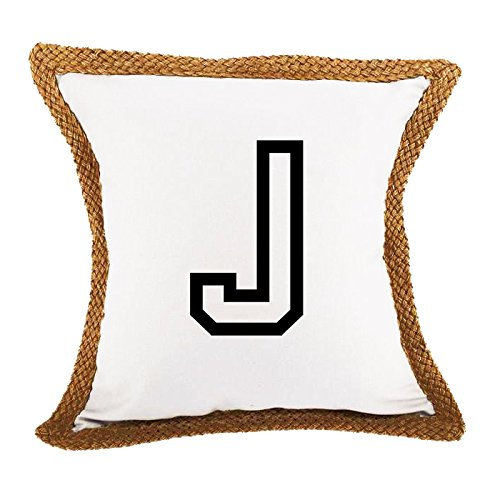 J College Style Initial Monogram Letter J Bed Home Decor Pillow Cover White