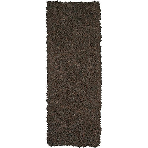 Pelle Leather Dark Brown Rug Rug Size: Runner 2'6