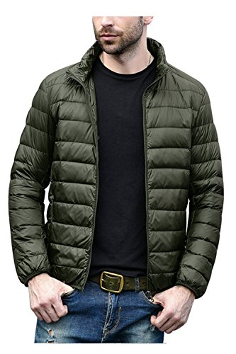 CIOR Men's Down Jacket Coat Ultra-Lightweight Puffer Packable with Travel Bag,MLL0808,Olive,L