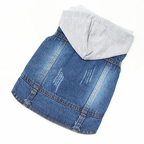 Pet Dog Clothes Blue Jeans Hoddies Spring Costumes Apparel Hooded Hoodie Coats for Small Puppy Medium Large Dogs