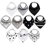 10-Pack Baby Bibs Upsimples Baby Bandana Drool Bibs for Drooling and Teething, 100% Organic Cotton and Super Absorbent Bibs for Baby Boys, Baby Shower Gift Set