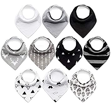 10 Pack Baby Bibs Upsimples Baby Bandana Drool Bibs For Drooling And Teething, 100 Percents Organic Cotton And Super Absorbent Bibs For Baby Boys, Baby Shower Gift Set by Upsimples