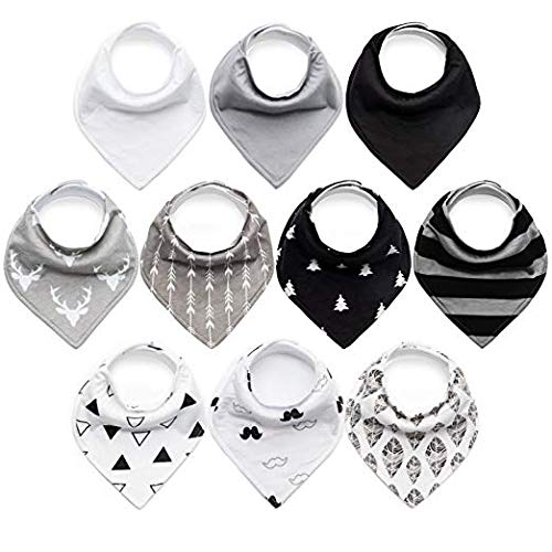10-Pack Baby Bibs Upsimples Baby Bandana Drool Bibs for Drooling and Teething, 100% Organic Cotton and Super Absorbent Bibs for Baby Boys, Baby Shower Gift Set ()