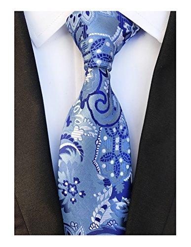 Men Paisley Pattern Tie Blue Royal White Standard 3.15
