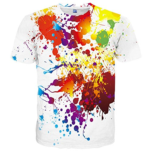 Neemanndy Unisex Men and Womens Short Sleeve 3D Shirt with Colorful Design, Small -
