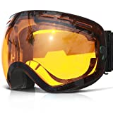 COPOZZ Ski Goggles, G1 Mens Womens Snow Snowboard Snowboarding Goggles Over Glasses Helmet Compatible Anti Fog UV Protection Non-slip Strap OTG for Youth Boys Girls, Polarized Lens Available