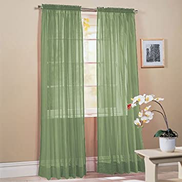 SET OF 2, 84u0026quot; LONG SAGE GREEN SHEER VOILE CURTAINS / TAILORED CURTAIN  PANELS