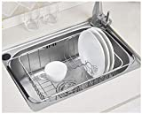 Sink Dish Drying Rack Stainless Steel Dish Drainer Organizer Over Sink or On Counter for Drying Glasses Bowls Plates ...