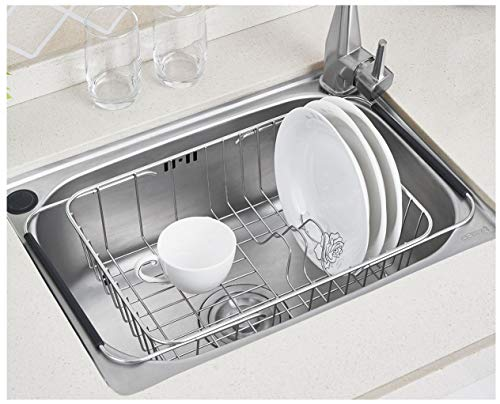 Sink Dish Drying Rack Stainless Steel Dish Drainer Organizer Over Sink or On Counter for Drying Glasses Bowls Plates ... ()
