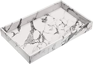 Hipiwe Desktop Vanity Organizer Tray, Faux Leathe Dresser Holder Tray Perfume Tray Cosmetics Storage Tray Home Decorative Catchall Tray for Bath Bathroom, Marbling White