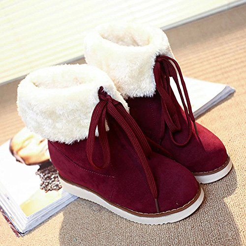 Hatop Women Boots, Womens Winter Boots Plush Outdoor Lace-up Shoes Warm Ankle Snow Boots Red