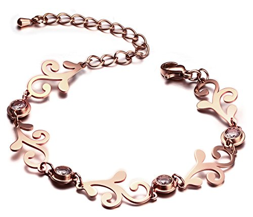 Gold Flower Link (Stainless Steel Cubic Zircon 18k Rose Gold Totems Flower Pattern Link Chain Bracelets for Women)