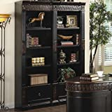 Rowan Carved Combination Bookcases Chestnut For Sale