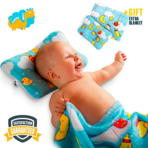 Baby Flat Head Shaping Pillow - Unique Design Pack with New-born Sleeping Pillow and Blanket - Made with Comfortable Organic Cotton Breathable Air Mesh Soft Neck Support Preventing Reflux and Flathead