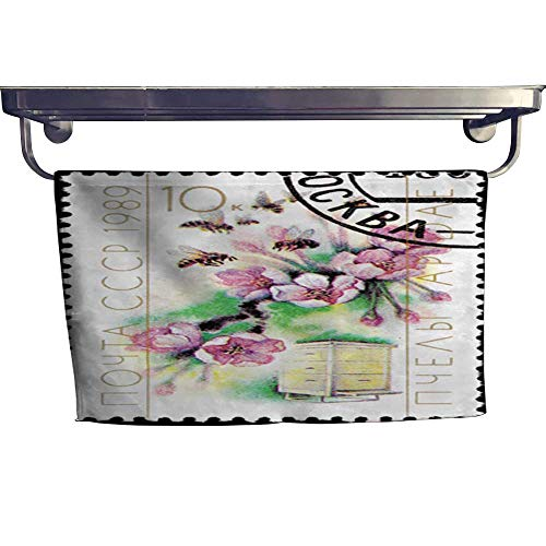 warmfamily Dry Fast Towel Canceled Soviet Postage Stamp Cherry Blossom Bee Hive Cultivation Pollination Towel W 14