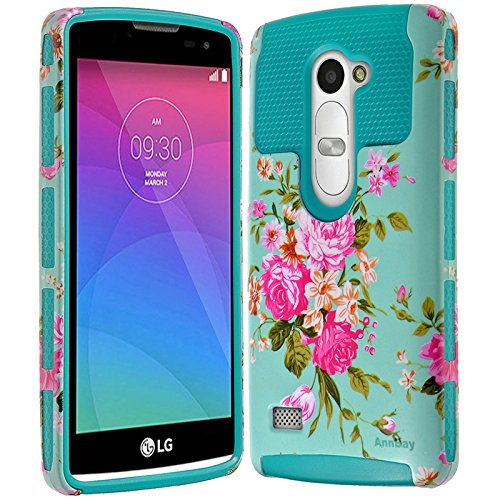 LG Tribute 2 Case,LG C40 Case,LG Leon LS665/Destiny L21G / Power L22C / Risio Case,AnnBay High Impact 2in1 Hybrid Dual Layer Armor Heavy Duty Cover Hard Soft TPU Case with Floral Pattern(Blue)