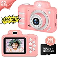 AddAcc Kids Camera 8MP Digital Dual Camera-Rechargeable Children Camcorder with 4X Digital Zoom-Gift for 3-12 Years Old Girls Boys Party Outdoor-16GB TF Card Included (Pink)