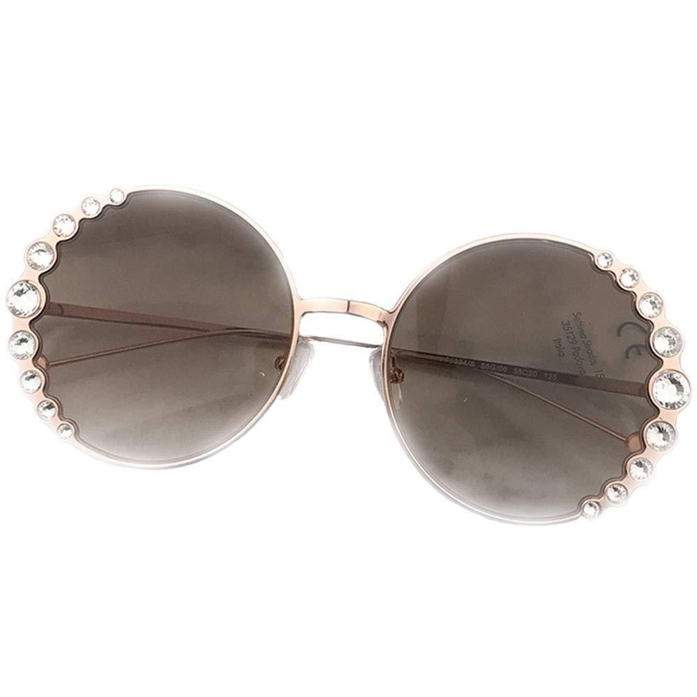 gold New Sunglasses, UV400 Predection Eye Fashion Ladies Huge Frame Sunglasses with Diamonds,gold