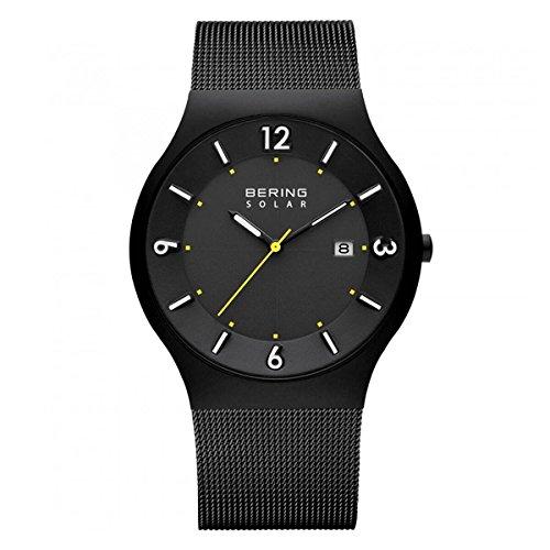 Bering 14440-223 Men's Solar Black Mesh Bracelet Black Dial Watch