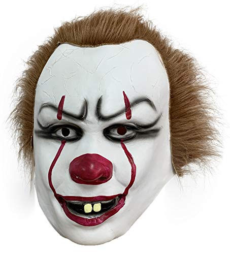 ZhangHD It Pennywise Cosplay Latex Mask Stephen King's Scary Clown Mask Joker Costume Halloween Party (B)]()
