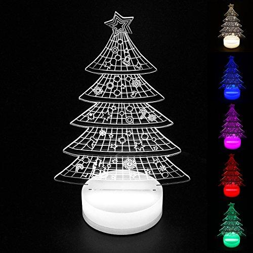 Perfect Lighting 3D Illusion Light LED Table Lamp Children Night Light USB Powered Light Christmas Home Decor Lighting (Christmas tree, Multi-Color) Review