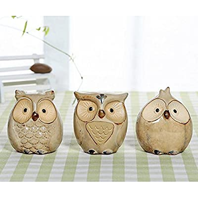 WOMHOPE Set of 3 pcs - Small Wise Owls Figurine House Warming Gift Tabletop Shelf Ceramic Home Decorative Collectible Figurine Statues (Beige (Set of 3 pcs)) - - PRODUCT MATERIAL:Handcrafted of fine ceramic, finished in cool retro shades, and then antiqued to perfect the vintage style - PERFECT YOUR LIFE:Makes a great gift or a charming decorative accent for your own home - FEATURE OF PRODUCT:The owls in this set of ceramic statuary are full of wisdom, whimsy and charm - living-room-decor, living-room, home-decor - 51SqMN2FJfL. SS400  -