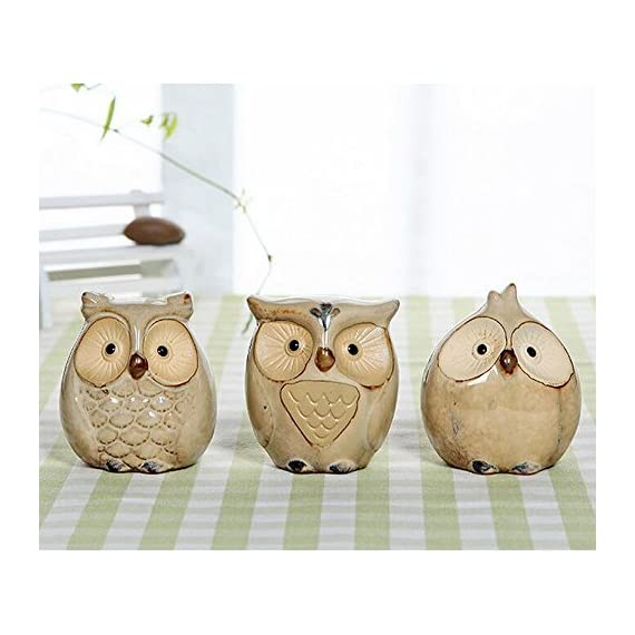 WOMHOPE Set of 3 pcs - Small Wise Owls Figurine House Warming Gift Tabletop Shelf Ceramic Home Decorative Collectible Figurine Statues (Beige (Set of 3 pcs)) - - PRODUCT MATERIAL:Handcrafted of fine ceramic, finished in cool retro shades, and then antiqued to perfect the vintage style - PERFECT YOUR LIFE:Makes a great gift or a charming decorative accent for your own home - FEATURE OF PRODUCT:The owls in this set of ceramic statuary are full of wisdom, whimsy and charm - living-room-decor, living-room, home-decor - 51SqMN2FJfL. SS570  -