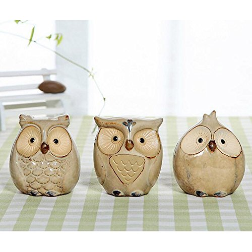 51SqMN2FJfL - WOMHOPE Set of 3 pcs - Small Wise Owls Figurine House Warming Gift Tabletop Shelf Ceramic Home Decorative Collectible Figurine Statues (Beige (Set of 3 pcs))