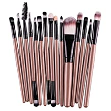 Mapletop 15 pcs/Sets Eye Shadow Foundation Eyebrow Lip Brush Makeup Brushes Tool Gold