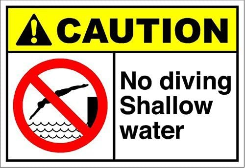 "Sar54ryld Schild aus Aluminium mit Aufschrift ""No Diving Shallow Water Caution OSHA/Ansi"", 30 x 45 cm"