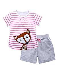 OHBABYKA Little Girls' Cotton Clothing Short Sets,Kids Summer Jersey Play Set