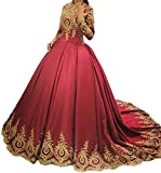 Dymaisei Women's Gold Appliques Muslim Formal Evening Dresses Long Sleeves Arabic Gowns US2