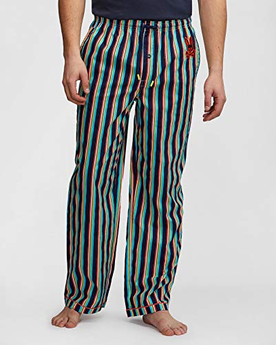 Psycho Bunny Men's Woven Lounge Pant (X-Large, Jamaica Stripe)
