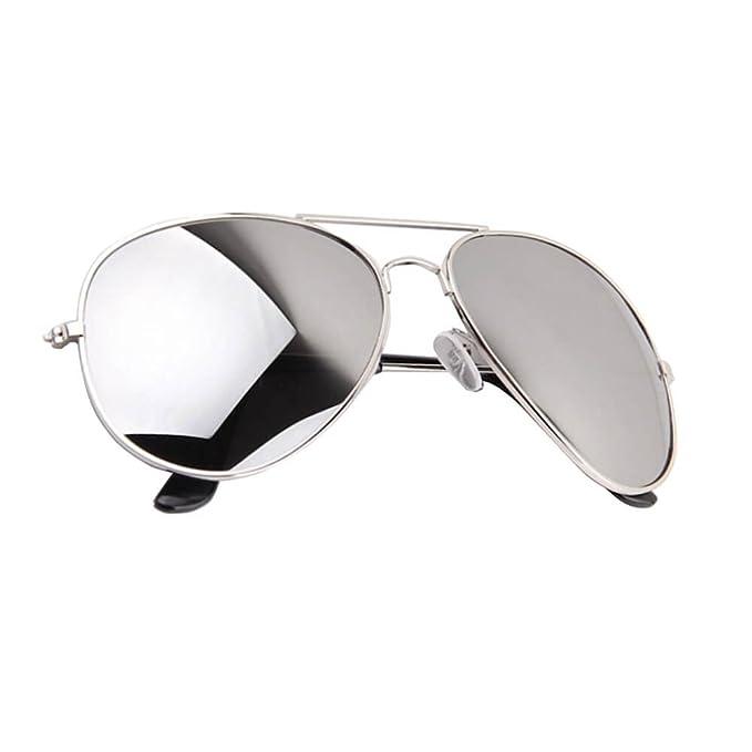 Aviator Gafas de sol Full lentes de espejo plata marco de ...
