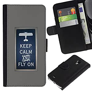 KingStore / Leather Etui en cuir / Samsung Galaxy S4 Mini i9190 / Fly sur le pilote Avion affiche