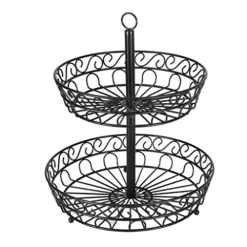 Transser 2-Tier Metal Countertop Fruit Basket Holder & Bowl Stand - Screws Free, Hanging Display Wire Tray for Fruit, Vegetables, Snacks, Bread and Much More, Shippign From CA. or NJ. (Black) (Easter Tray Veggie)