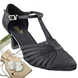 Women's Ballroom Dance Shoes Tango Wedding Salsa Dance Shoes Black Satin 6829BEB Comfortable - Very Fine 2.5'' Heel 7.5 M US [Bundle of 5]