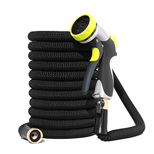 Garden Hose Water Hose 50ft No-Kink Expandable Garden Hose Double Latex Core Flexible Expanded Hose with 8 Function Spray Nozzle 3/4 Anti-Rust Solid Brass Fittings for Garden Watering/Car Cleaning