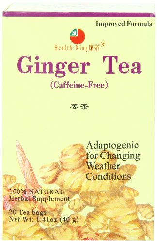 Health King Ginger Herb Tea, Teabags, 20 Count Box