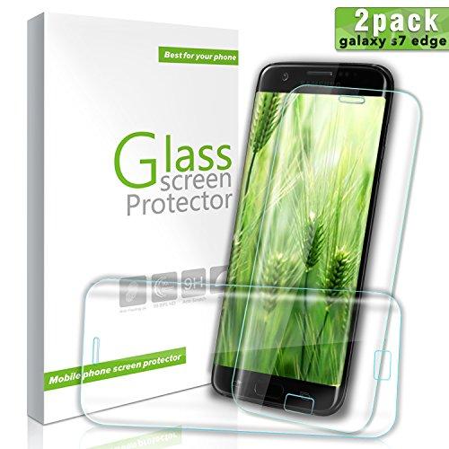 BULESK Galaxy S7 Edge Glass Screen Protector, 2 Pack Aonsen 3D Tempered Glass Screen Protector Full , HD Clear Screen Protector Film for Samsung Galaxy S7 Edge Full Screen Coverage Transparent