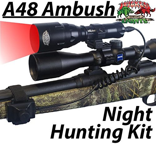 Wicked Lights A48IC Night Hunting Kit With RED Intensity Control LED for Predator, varmint & Hog complete Red led light kit