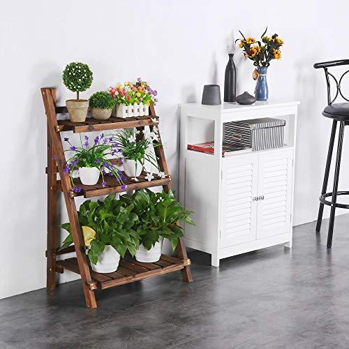 Topeakmart Plant Stands Shelf Indoor - 3 Tier Wooden Plant Flower Pot Stand Rack Holder Folding Ladder Shelf Display Outdoor Soild Wood