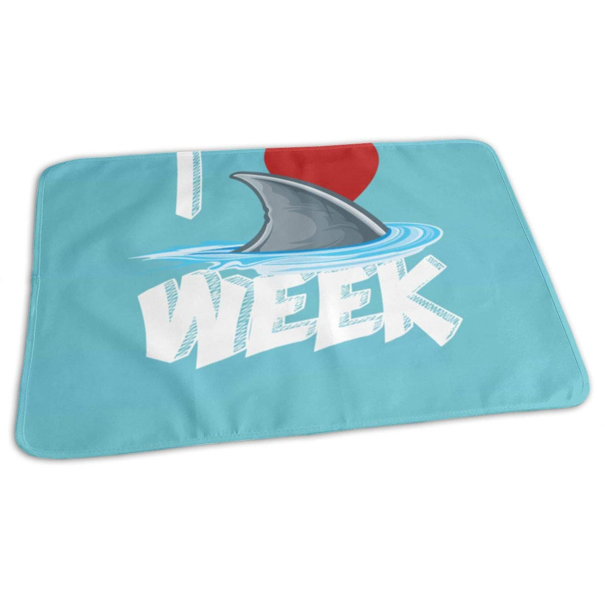 I Love The Week of Sharks Foldable Baby Waterproof Changing Pad Soft Diaper Mat 27.5''x19.7''
