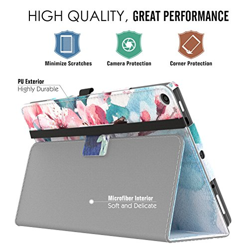 MoKo Case for All-New Amazon Fire HD 10 Tablet (7th Generation and 9th Generation, 2017 and 2019 Release) - Slim Folding Stand Cover with Auto Wake/Sleep for 10.1 Inch Tablet, Peach Blossom
