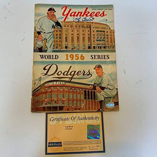 RARE Yogi Berra Signed 1956 World Series Don Larsen Perfect Game Program - Steiner Sports Certified - Autographed MLB - Don World Series Larsen