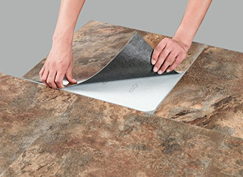 "Regal Collection Pack of 10 (18"" x 18"") Self Adhesive Natural Stone 2mm Thick Vinyl Tiles - rustic Copper Slate (Slate Bathroom Tile)"