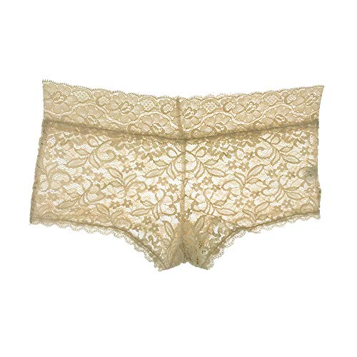 (Lace Briefs Bikini Cheeky Hipster Panties Floral Breathable Bridal G-String Soft Stretch Tanga Underwear for Women (Skin Boyshorts, M))
