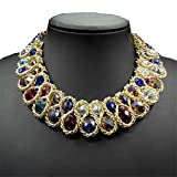 AWAYTR  Ladies Chunky Choker Necklace Gold Tone Fashion Statement Big Translucent Crystals